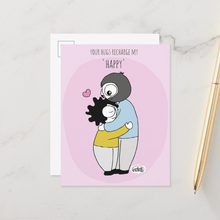 Load image into Gallery viewer, Your Hugs Recharge My Happy Postcards (Set of Two) - MyDoodlesAteMe
