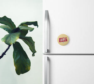 Hustle Harder Custard Yellow Pin Badge (+ Fridge Magnet) - MyDoodlesAteMe