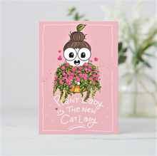 Load image into Gallery viewer, Plant Lady is the New Cat Lady Postcards (Set of Two - Mauve & Pink) - MyDoodlesAteMe