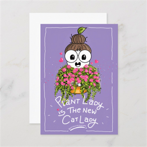 Plant Lady is the New Cat Lady Postcards (Set of Two - Mauve & Pink) - MyDoodlesAteMe