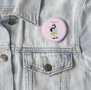 Your Hugs Recharge My Happy Pin Badge (+ Fridge Magnet) - MyDoodlesAteMe