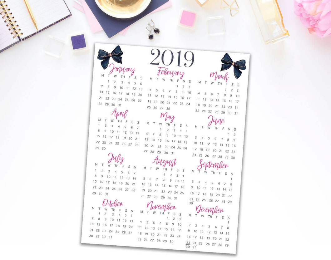 2019 year at a glance free