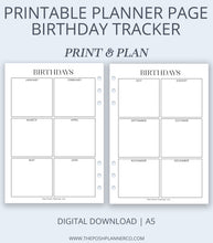 Load image into Gallery viewer, printable planner insert birthday
