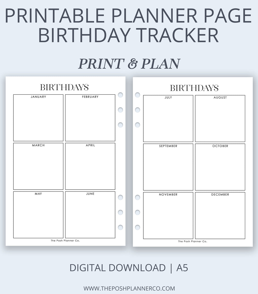 printable planner insert birthday