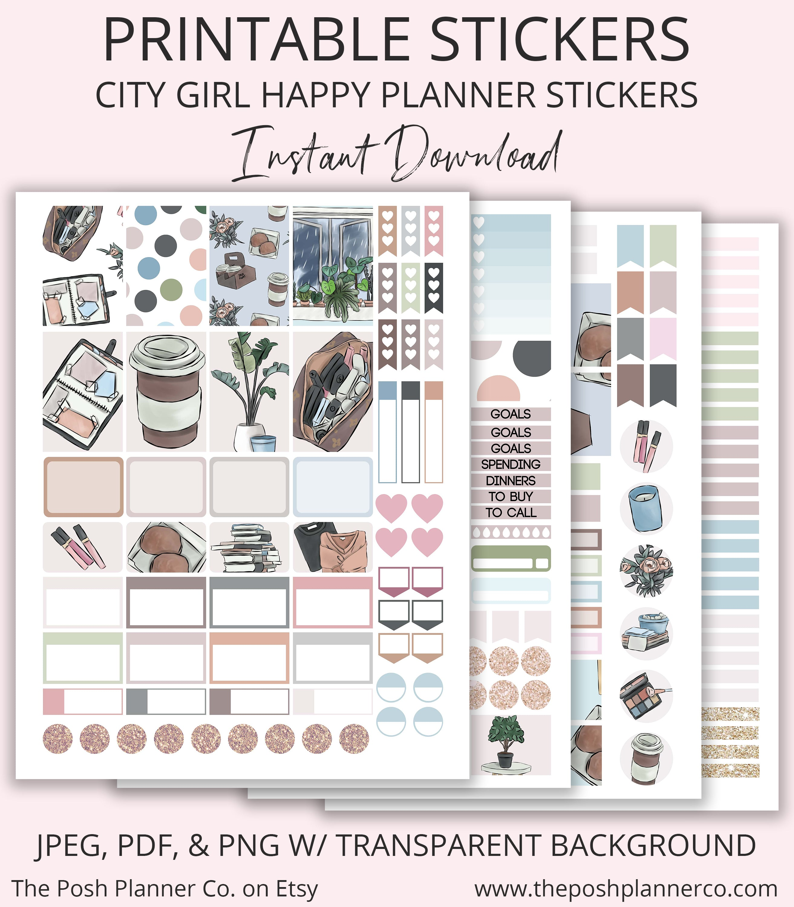 image regarding Happy Planner Printable referred to as Printable Delighted Planner Stickers - Town Female Planner Stickers - Satisfied Planner Clic Printables