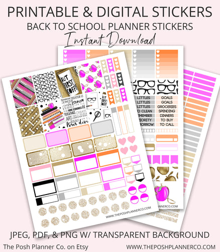 Printable Planner Stickers - Fall Back to School Stickers