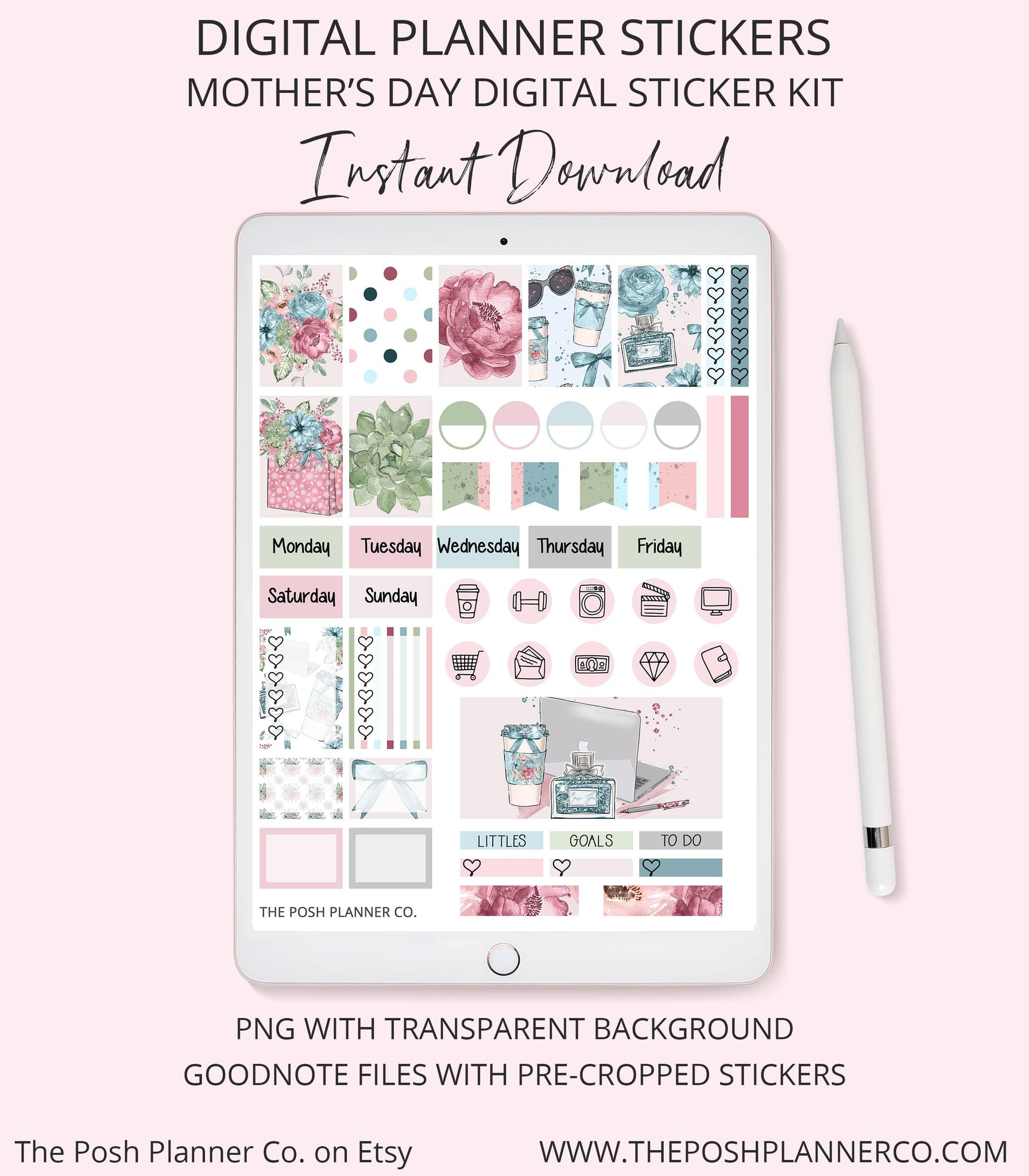 graphic relating to Digital Day Planner known as Electronic Planner Stickers - Spring Summer time Stickers - Moms