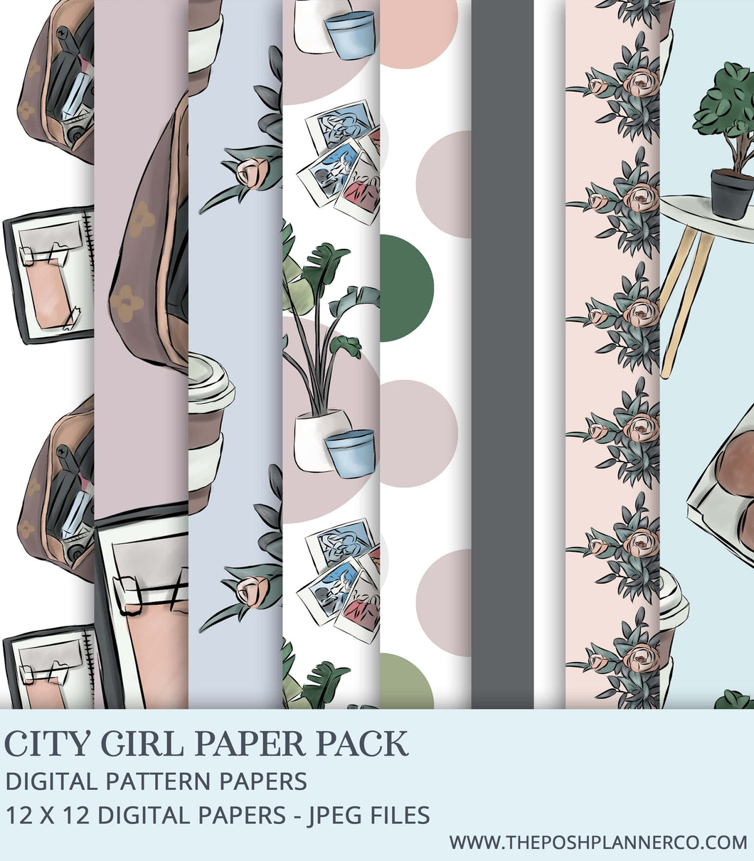 Digital Paper Pack - City Girl - Seamless Fashion Papers
