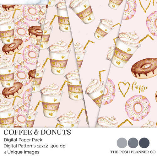 digital papers coffee donuts