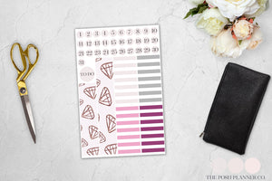 Printable Planner Stickers - Blush and Gold Diamonds