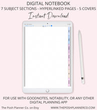 Load image into Gallery viewer, Digital Notebook 7 Subjects Sections - Elegant Design - Student Planner Notebook