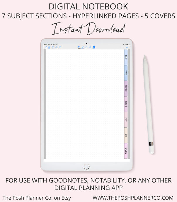 Digital Notebook 7 Subjects Sections - Elegant Design - Student Planner Notebook