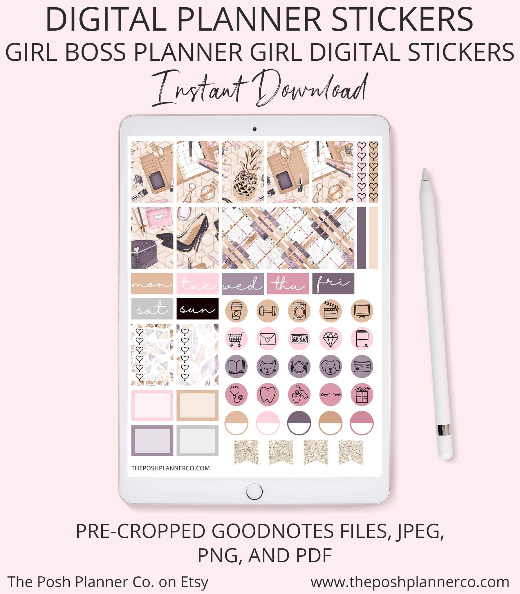 Digital Planner Stickers - Girl Boss Stickers - GoodNotes
