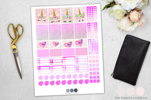 unicorns printable planner stickers