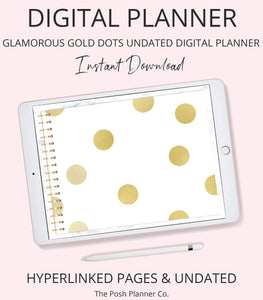 Digital Planner for iPad - Undated - Glamorous Gold Dots