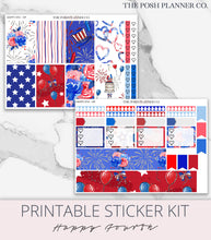 Load image into Gallery viewer, Printable Planner Stickers - 4th of July Independence Day - Happy Planner Stickers