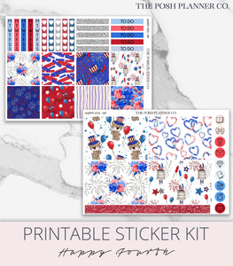 Printable Planner Stickers - 4th of July Independence Day - Happy Planner Stickers