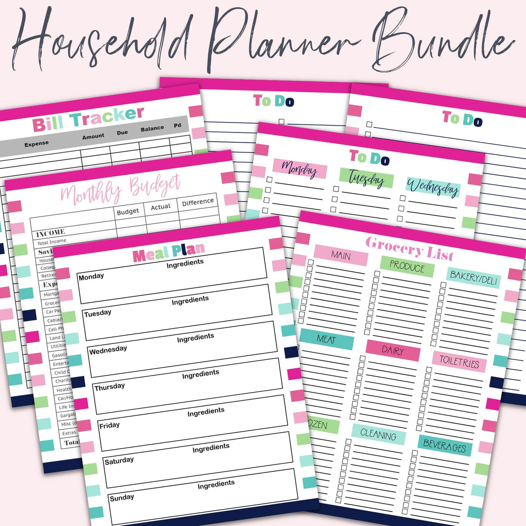 planner page bundle for household