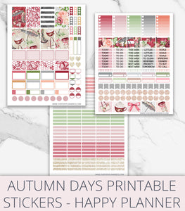 Printable Planner Stickers - Autumn Days Planner Happy Planner Stickers