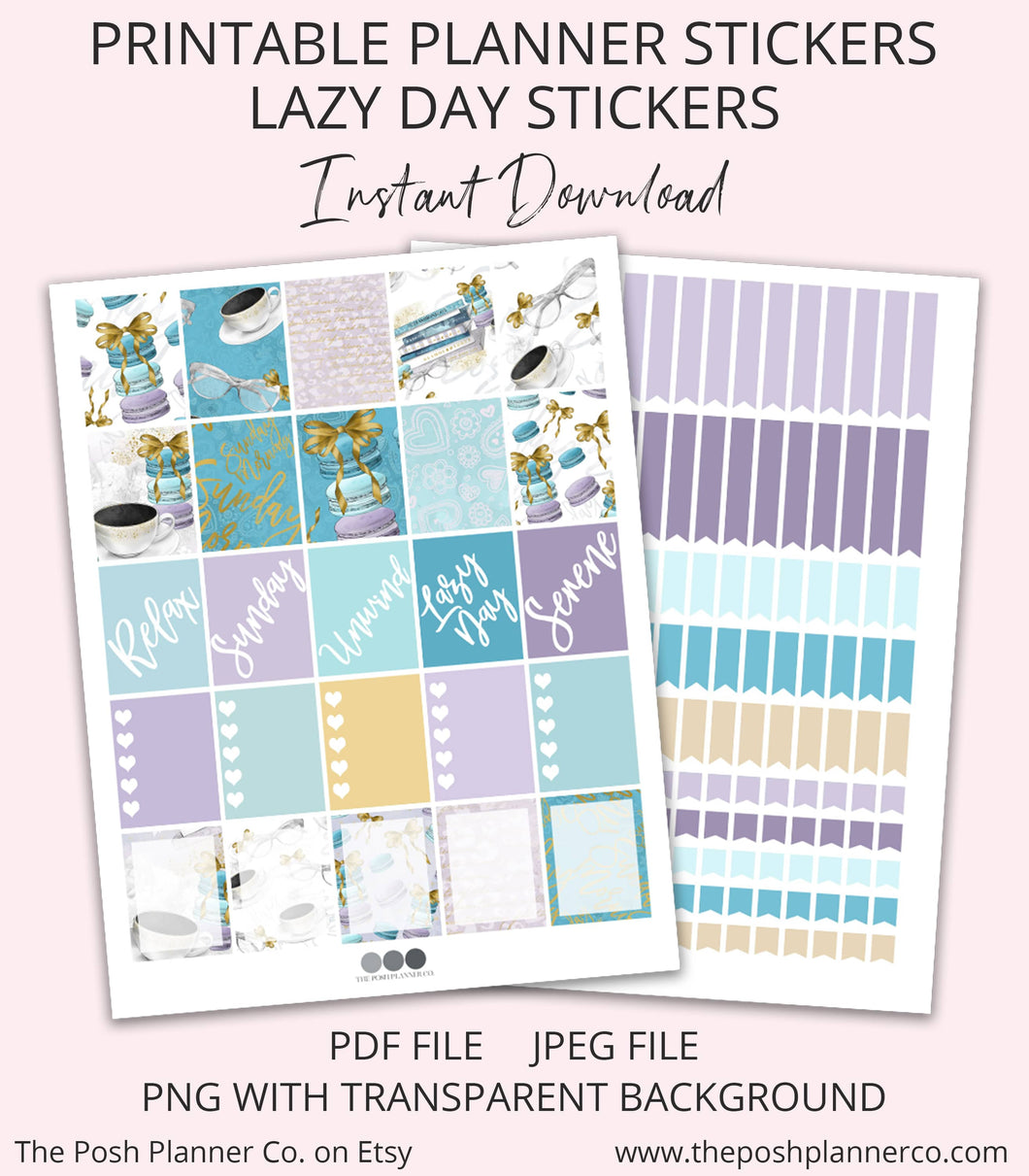 lazy day sunday planner stickers