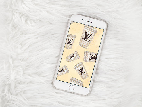 Coffee Cups Phone Wallpaper - Phone Lock Screen - LV Inspired