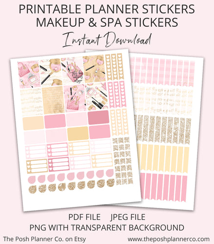 makeup and spa day planner stickers
