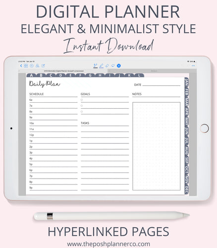 2019 Digital Planner - Elegant Minimalist Design - For Goodnotes Notability Etc.