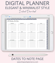 Load image into Gallery viewer, 2019 Digital Planner - Elegant Minimalist Design - For Goodnotes Notability Etc.