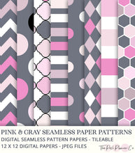 Load image into Gallery viewer, pink and gray digital papers