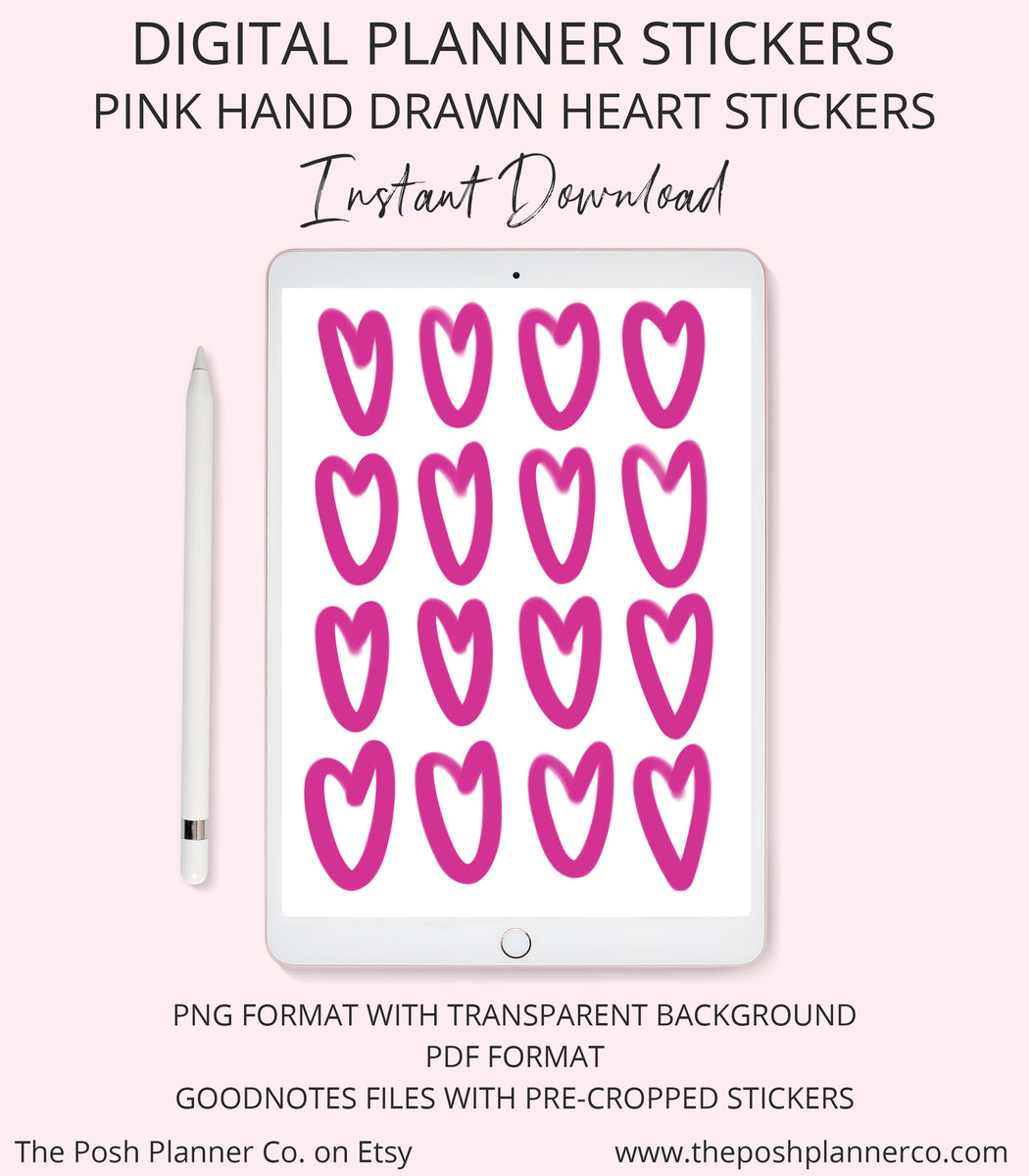Digital Planner Stickers - Pink Hand Drawn Hearts - iPad Planner Stickers  for Goodnotes