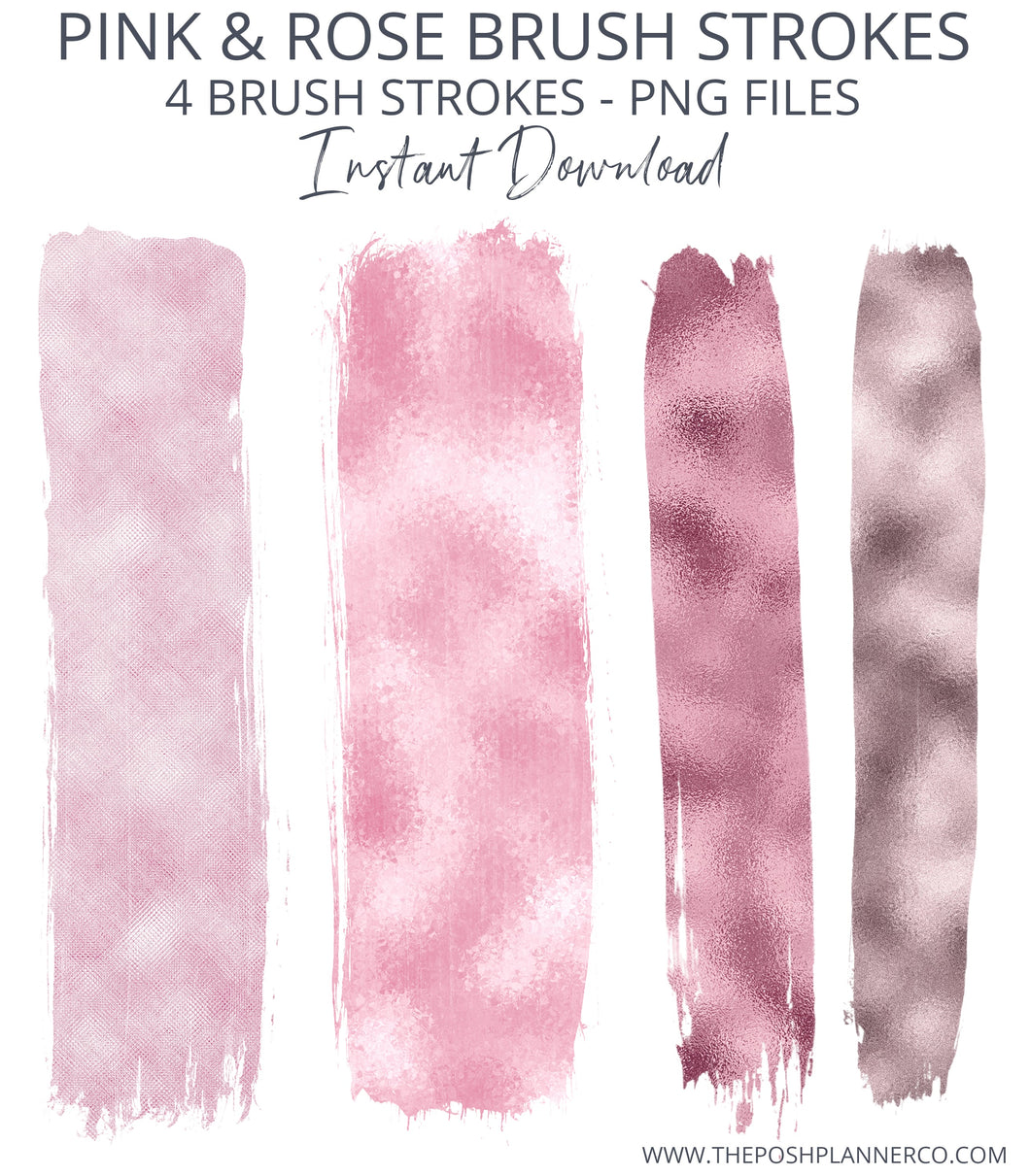 pink metallic brush strokes