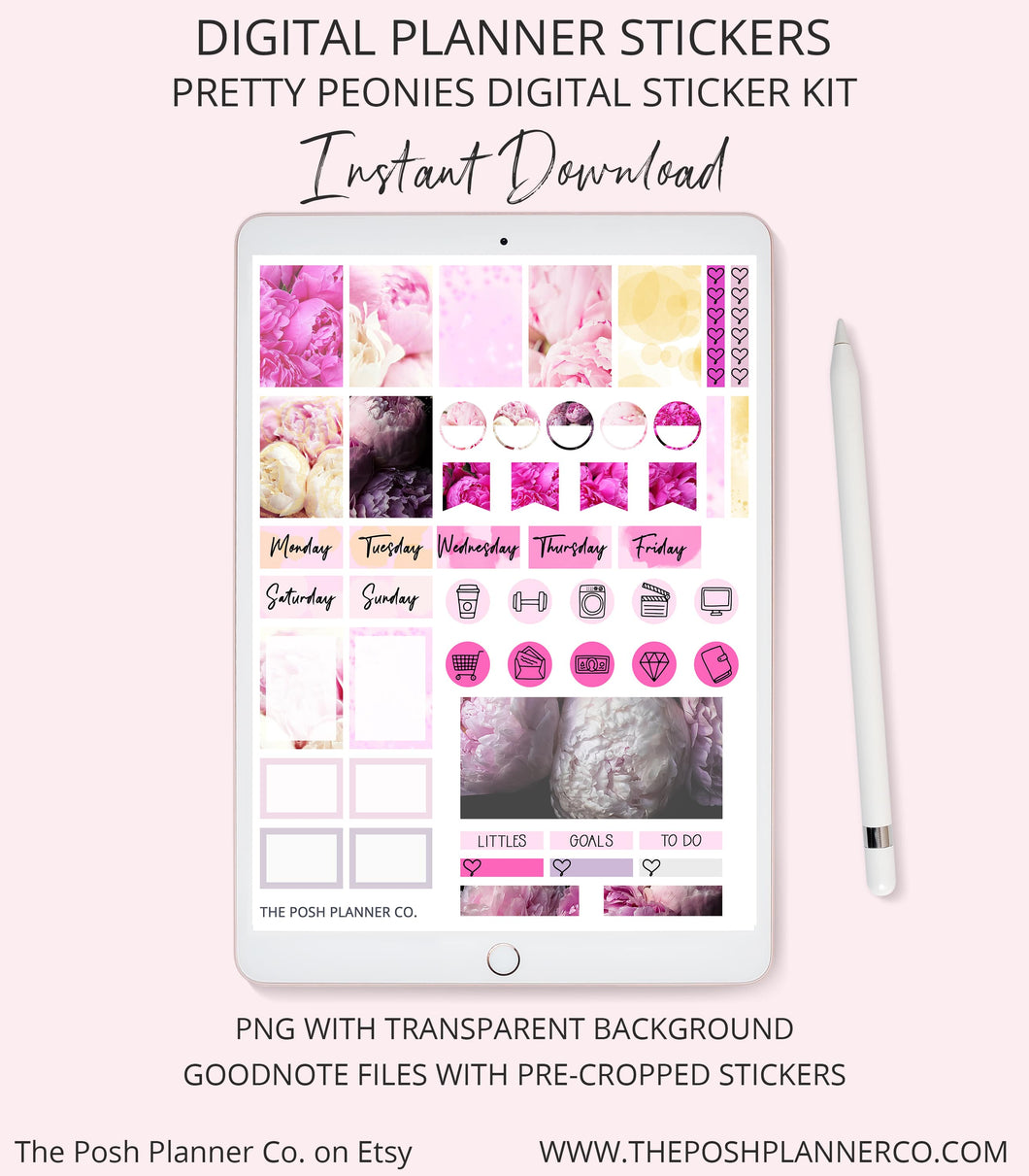 Digital Planner Stickers - iPad Planner Stickers for Goodnotes - Peony Stickers