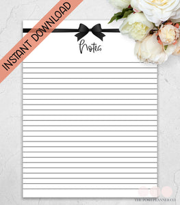 printable notes planner page