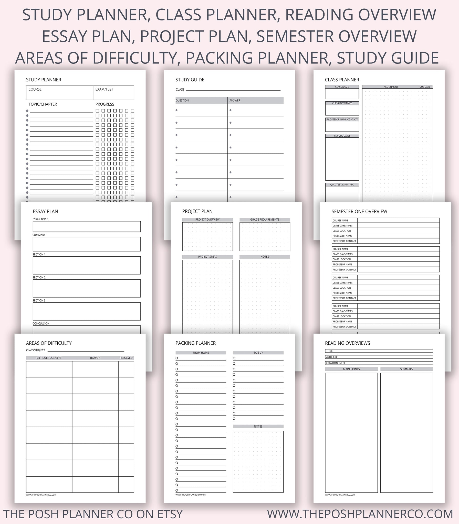 photo about Printable Student Planner referred to as Printable University student Planner - Printable Planner Webpages The