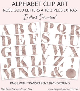 Rose Gold Alphabet Clip Art - Digital Clipart Rose Gold Letters