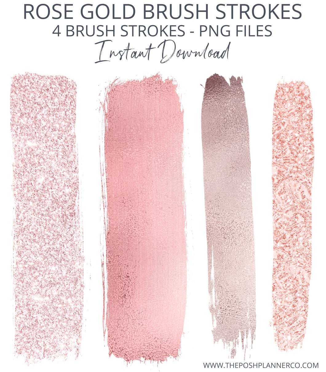 rose gold brush stroke clip art