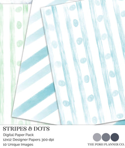 watercolor stripes and polka dots