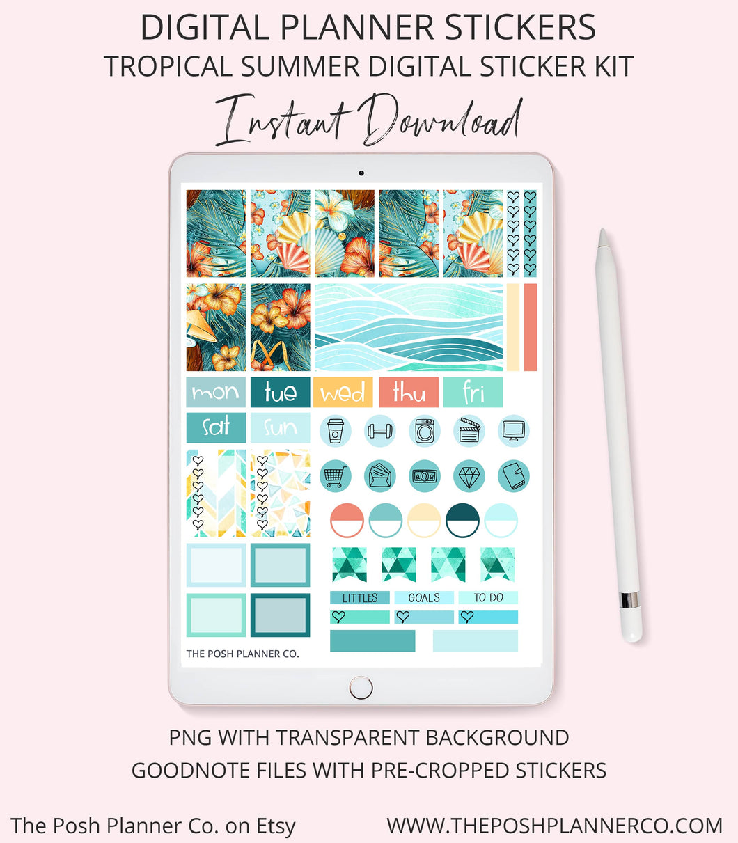Planner Stickers - Tropical Summer Planner Stickers - Digital Stickers