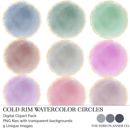 Digital Clipart Pack - Watercolor Circles With Gold