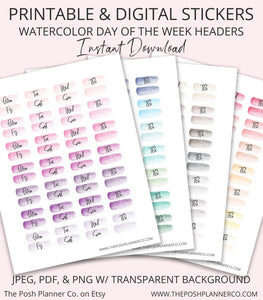 Printable Planner Stickers - Digital Stickers - Day of Week Headers