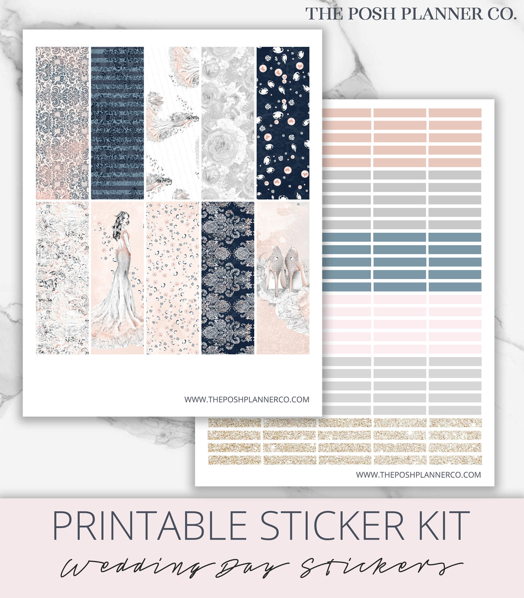 image relating to Printable Sticker identified as Wedding ceremony Working day Printable Planner Stickers - Bride Planner Sticker Package