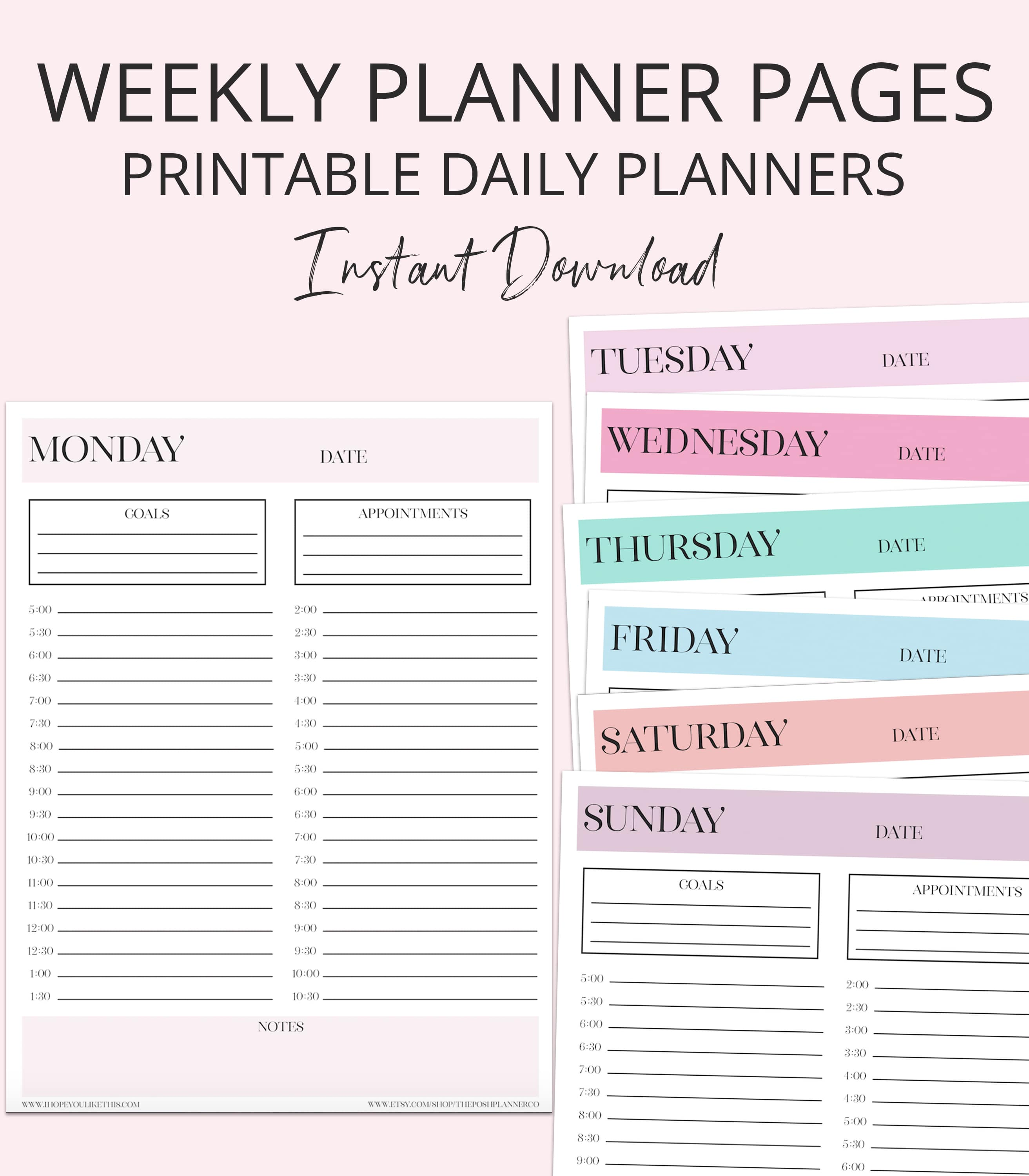 photo about Weekly Planner Pages titled Electronic Calendar Webpages - Printable Planner Webpages