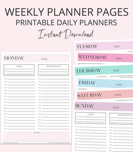 printable planner pages weekly layout