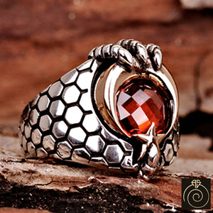Ruby Stone Moon Star Men's Claw Ring
