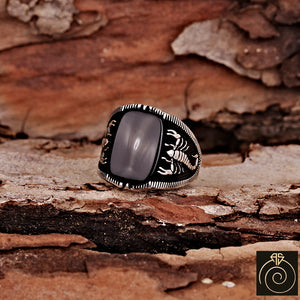 Onyx Silver Scorpion Men's Ring