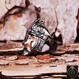 Emerald - Ruby Silver Men's Ring