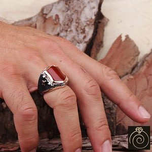 Agate Silver Men's Ring
