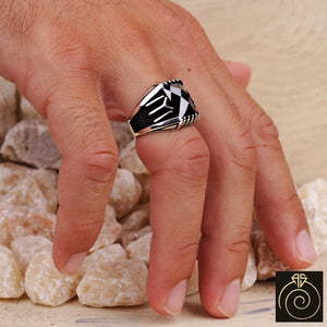 Black Quartz Silver Men's Ring