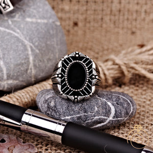 Onyx Gemstone Engraved Rectangle Men's Ring