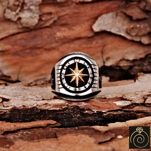 Compass Silver Men's Ring